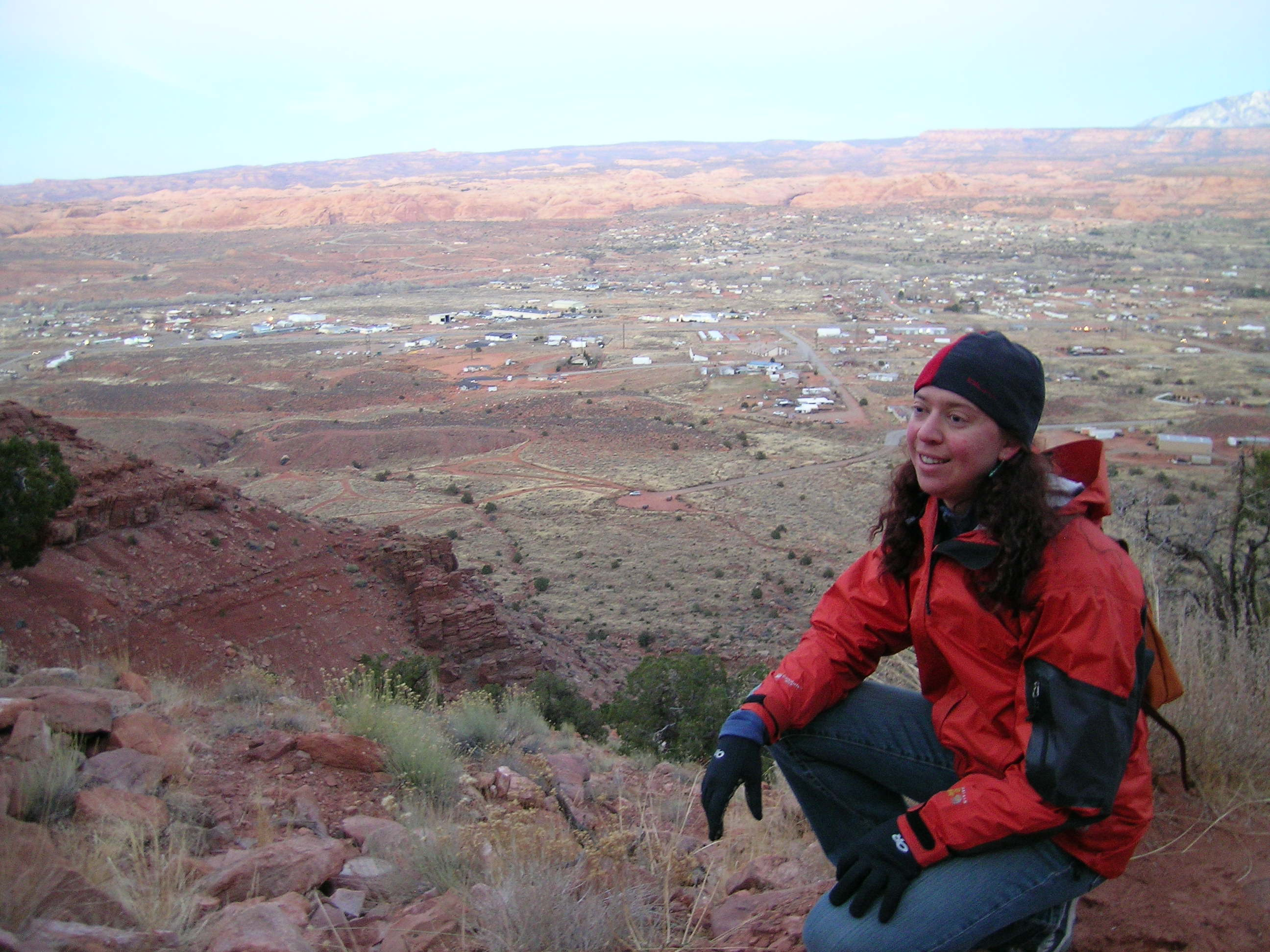 Clare Overlooking Moab on Holly's Old Favorite Running Route